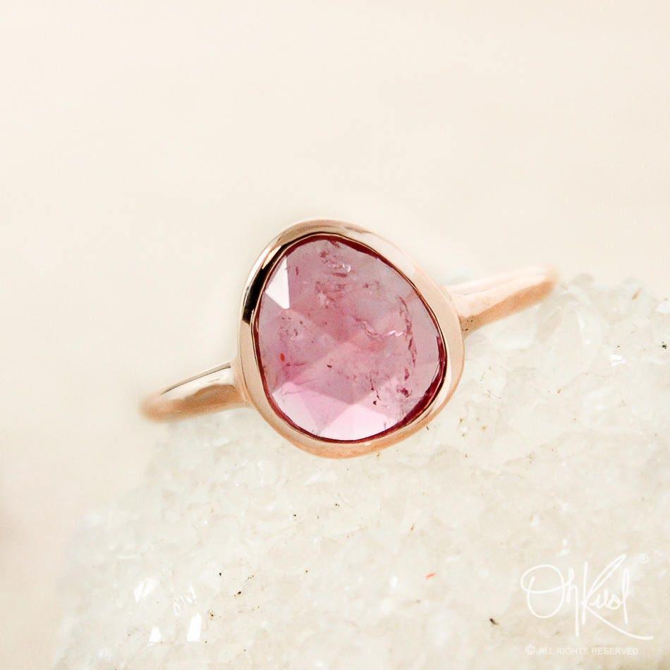 Rose Gold Pink Tourmaline Ring Rose Cut Tourmaline Bezel