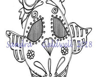 2232 Day of the Dead Chick Digi Stamp