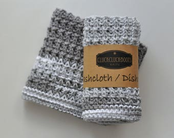 Knitted Two Color Washcloth / Dishcloth Set - Set of 2