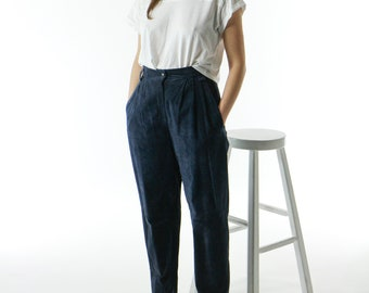 Suede Blue Pants / Leather High Waisted Pants / Navy Suede Trousers