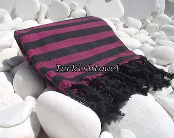 Turkishtowel-Soft-Highest Quality,Pure Organic Cotton,Hand Woven,Bath,Beach,Spa,Yoga,Travel Towel or Sarong-Fuchsia and  Black Stripes