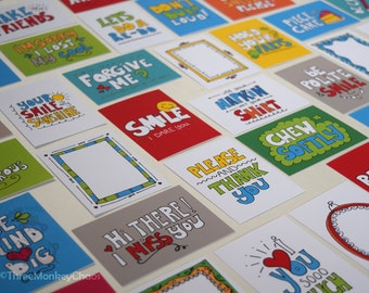 Lunch Box Notes - 45 Cards! | Printable Mini Cards | Back to School | Notes for Kids or Adults | Equivalent to BUY 3 get 2 FREE