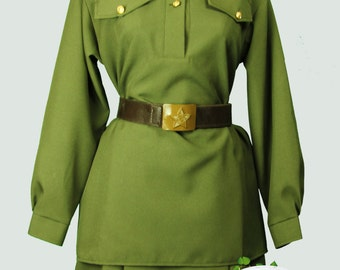 Soviet Woman Military uniform, Suit for a Victory Day, Red Army Costume, World War II