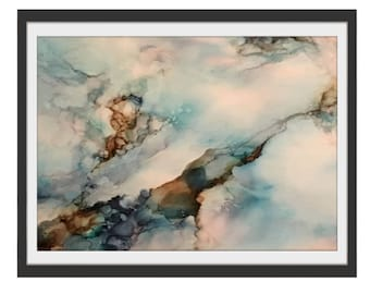 """Giclee Print ~ blue, brown and white """"Let There Be Peace"""""""