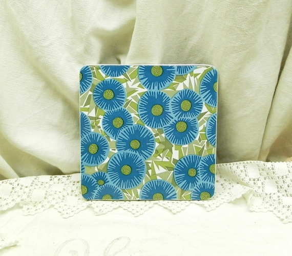 Vintage French Mid Century Square Colorful Blue and Green Flower Pattern Formica Trivet / Heat Mat, Midcentury 1960s Retro Kitchen Decor