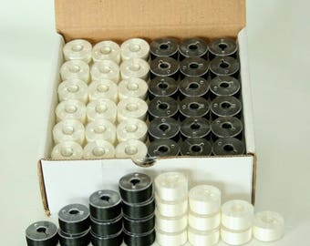 Pre-wound Plastic Bobbins - Black and White Embroidery Thread - SA156, Class 15, A size