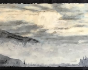 into the mountains -  8x20 original encaustic painting, mountains, wax painting, mist, clouds