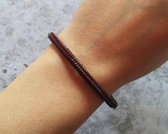 Bracciale rigido perline marrone cioccolato tinta unita herringbone