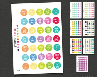 Lazy Day Stickers - Planner Stickers for all planners and diaries - Repositionable Matte Vinyl