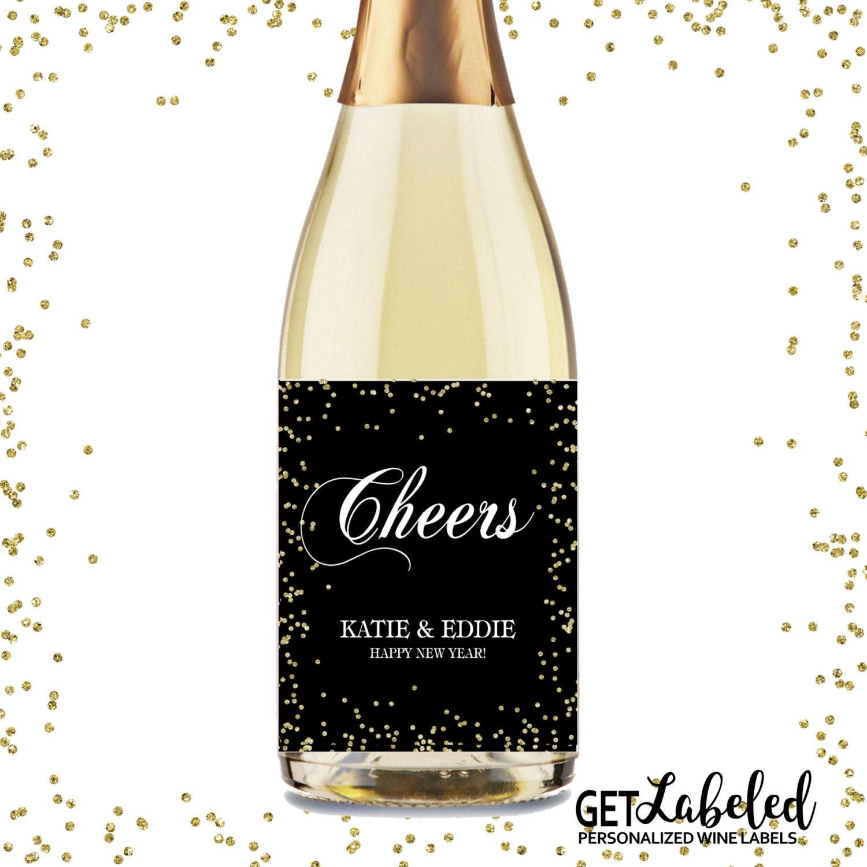 Champagne label Personalized Gold Glitter Wine Lables