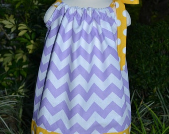 Purple Easter Dress, chevron pillowcase dress, baby Easter outfit, girls spring dress, purple and yellow, baby Easter dress, toddler dress