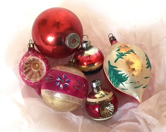 Vintage Christmas Ornaments Glass Shiny Brite Rauch Poland Six 1940s to 1950s