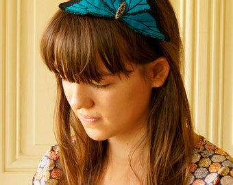 SALE LAST ONE Blue Morpho Butterfly Statement Headband Fascinator Hair Accessory Silk Natural History Gift Nature Lover Entomology