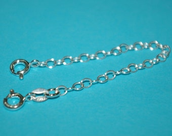Sterling Silver 925 4 inch Safety CHAIN EXTENDER with 2 Spring Clasps - Real Silver - Free Shipping Worldwide