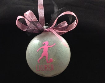 Personalized Soccer Player Glitter Disc Christmas Ornament