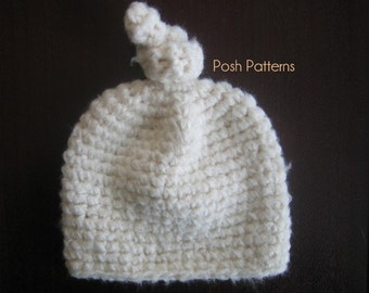 Crochet PATTERN - Crochet Hat Pattern - Crochet Baby Hat Pattern - Top Knot Hat - PDF 249 - Includes 6 Sizes Newborn to Adult - Photo Prop