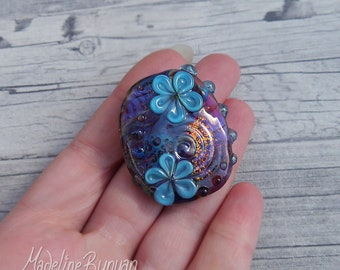 Rainbow Garden, 3D pretty flower Lampwork Focal Bead, rainbow, turquoise, gold, pendant bead, floral bead, multicoloured