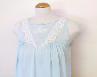 Light Blue Nightgown Sleep Dress Top - Ladies Small/Medium