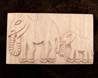African Printing Block Textile Stamp - Carved Textile Stamp, African Elephants, Oshiwa Wood Printing Block, Item 11-10-8