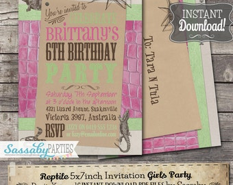 Reptile Girl Invitation - INSTANT DOWNLOAD - Partially Editable & Printable Birthday Pink Green Party Invite by Sassaby Parties