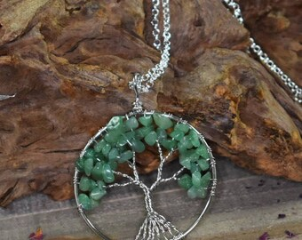 Green Aventurine Wire Wrapped Tree of Life Pendant