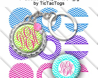 Editable Colorful Monogram Chevron Bottle Cap Images Digital Set 1 Inch Circle 4x6 JPEG Pink Green Blue Purple - Instant Download - BC508