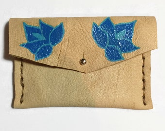 Leather Bag Women - Blue - Leather Bag - Mexican Flower