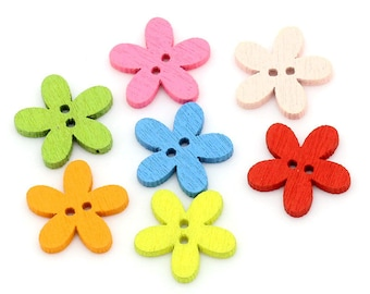 10 - small multicolored flowers - 2 holes - 15 mm wooden buttons