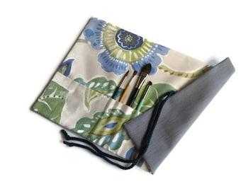 Paint Brush Roll Blue & Green Flowers Artist Brush Roll