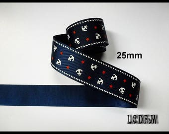 * ¤ 1 meter Ribbon Grosgrain Navy sailor with anchor and stars - 25mm ¤ * #CR14