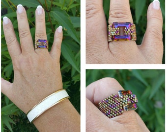 Square Swarovski Cosmic ring