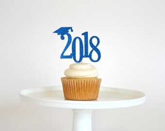 Graduation Cupcake Toppers - Graduation Party Decorations - Class of 2018 Cupcake Toppers - Congrats Grad - 2018 Cupcake Toppers