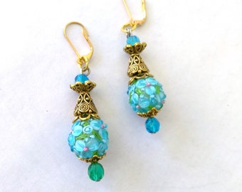 Vintage Lampwork Earrings Turquoise Blue Flower Ball Earrings, Lampwork Dangle Earrings Blue & Gold Earrings, Art Glass Lever Back Earrings