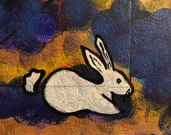 Dark Bunny: Abstract Acrylic Paint on 8x10 canvas