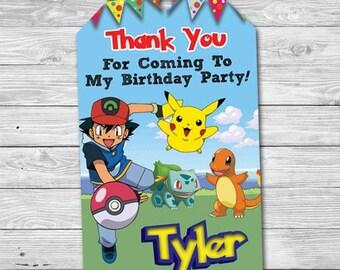 Pokemon Birthday Tag, Pokemon Thank You Tag, Pokemon Birthday Favor Tag, Pokemon Thank You Card, Pikachu Ash Digital Personalized Printable