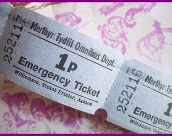 Vintage Tickets : 10 Original One Penny Unused Tickets British Bus tickets