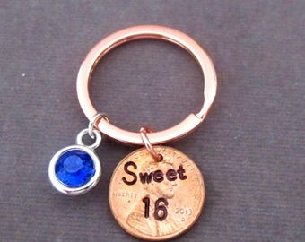 Sweet 16 Keychain,Rose Gold Keychain,Sweet 16 gift,Sweet 16 Jewelry, Granddaughter/Daughter Sweet Sixteenth Birthday gift, Free Shipping USA