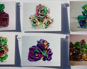 Mardi Gras Color Palmetto Roses / Palm Roses New Orleans Postcards Batch One
