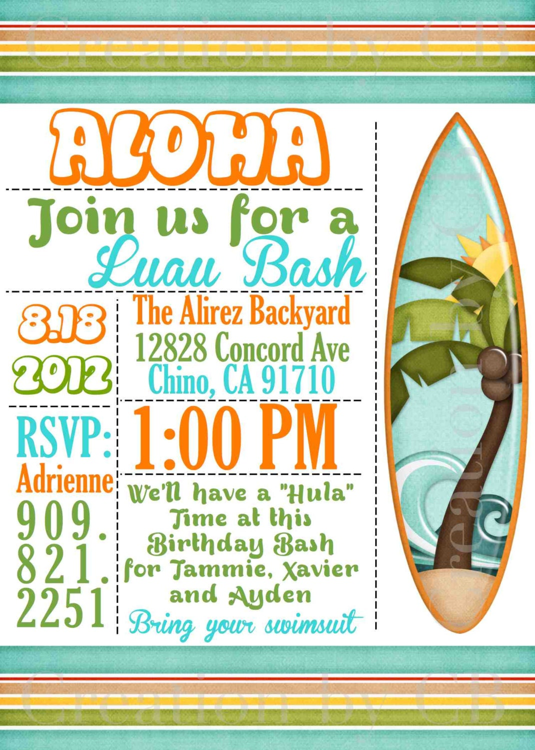 Luau Bash Invitation Birthday Potluck Party