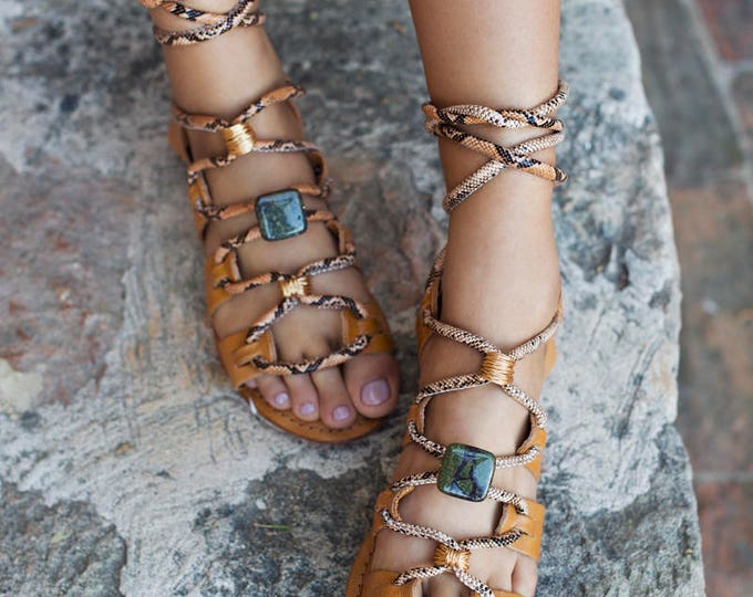 BAS x WFDN Leather snake sandals with dragons blood jasper and wire twist metal charms