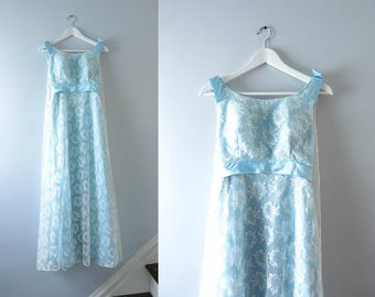 Vintage Wedding Dress | 1960s Blue White Lace Bridal Dress XS | Pastel Blue Wedding Gown | Blue Bridal Dress