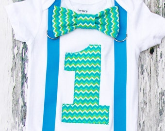 Baby boy chevron cake smash outfit, teal lime green chevron baby boy first birthday onesie with matching blue suspenders and chevron bow tie