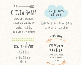 Birth Announcement overlays - new baby photo card overlays template PSD BO003