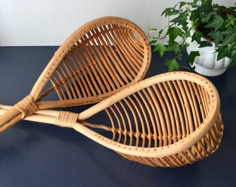 vintage Jakraw set jai alai wicker catch game baskets scoops