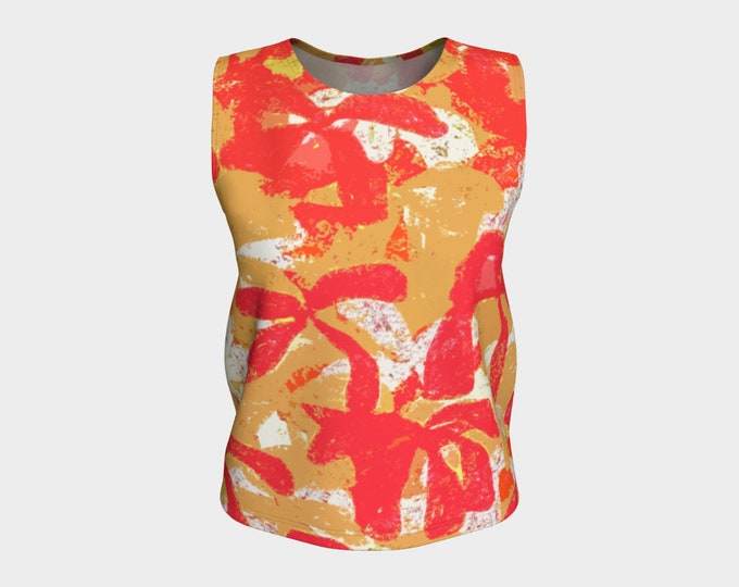 Red and Gold Tahitian Loose Fitting Tank,  Tank Top, Women's Tank Top, Summer Tank Top, Tops, Women's Tops, Loose Fit Tank