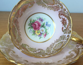 Pastel Pink Paragon Tea Cup and Saucer, Light Pink and Gold Floral Teacup and Saucer, Bone China, 1940s, Double Warrant