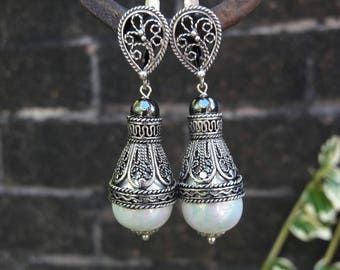 Antiqued Silver Vintage Style Pearl Drop Earrings, Filigree Earrings, Pearl Drop Earrings