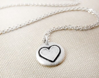 Tiny heart necklace in silver, valentines jewelry, heart pendant
