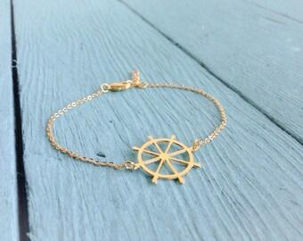 Gold Boat Wheel Bracelet, Nautical Jewelry, Ship Bracelet Friendship Bracelet, Gift Under 25