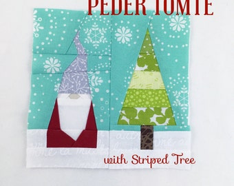 PEDER TOMTE with Striped Tree Quilt Block // Foundational Paper Piecing // PDF // Instant Download // Nisse Gnome